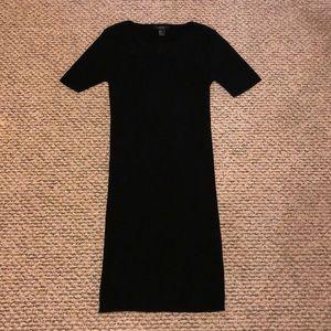 Black Short Sleeve Ribbed Bodycon Sweater Dress L